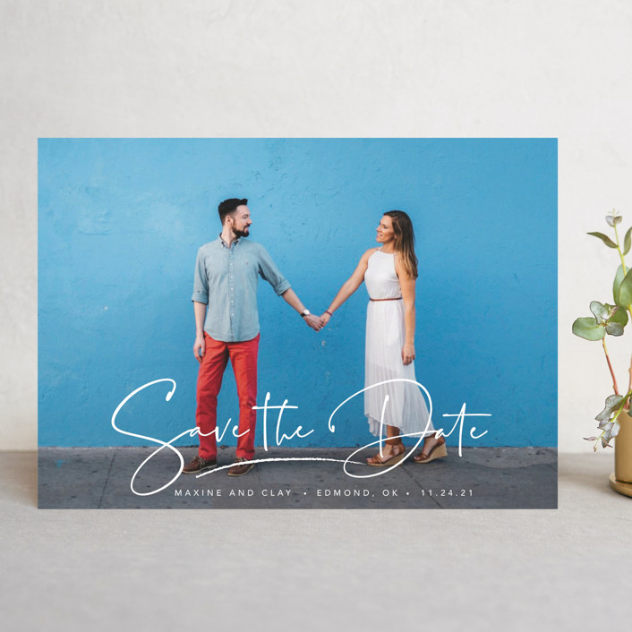 """""""Swashy Save"""" - Save The Date Cards in Cotton by Anna Elder."""