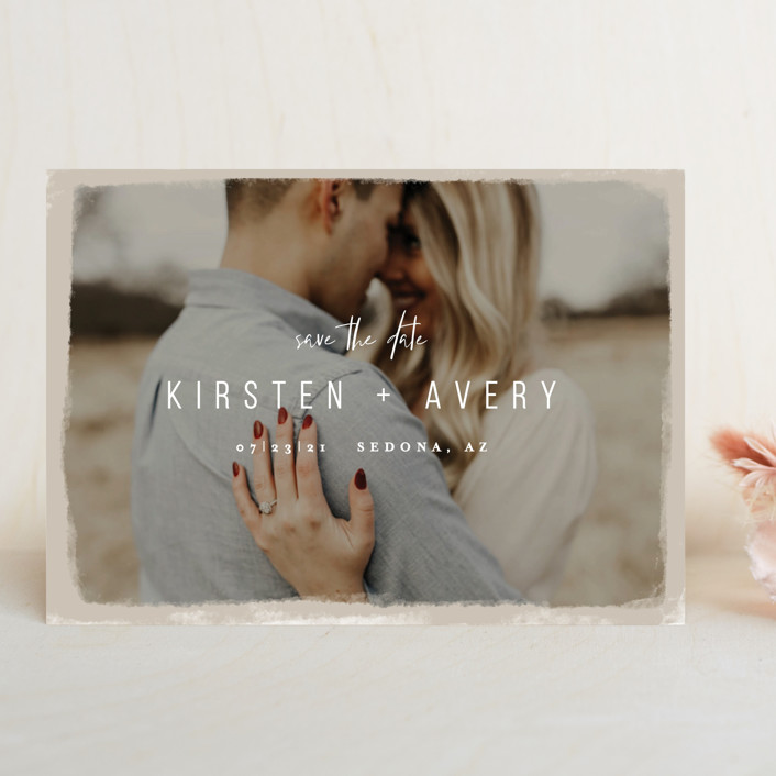 """""""Kindred"""" - Save The Date Cards in Nutmeg by Melissa Egan of Pistols."""
