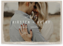 This is a brown save the date by Melissa Egan of Pistols called Kindred with standard printing on smooth signature in standard.