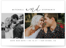 This is a white save the date by jomolo called A Modern Duo with standard printing on smooth signature in standard.