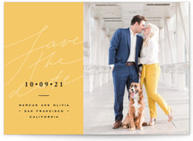 This is a yellow save the date by Anastasia Makarova called bright mood with standard printing on smooth signature in standard.