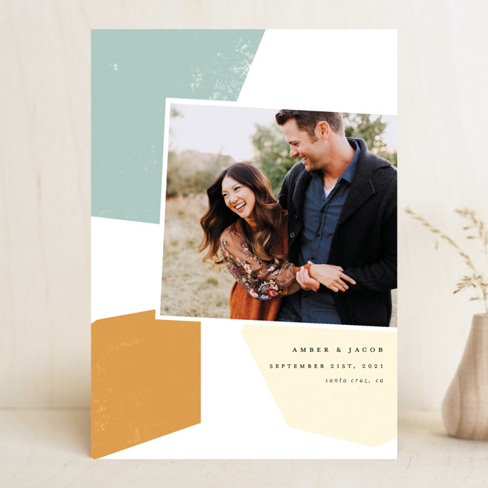 """""""Modern Shapes"""" - Modern Save The Date Cards in Sea Glass by Morgan Kendall."""
