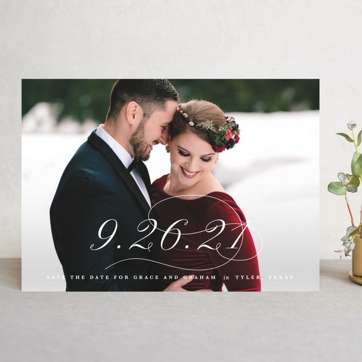 """""""Decorate the Day"""" - Save The Date Cards in Snow by Lauren Chism."""
