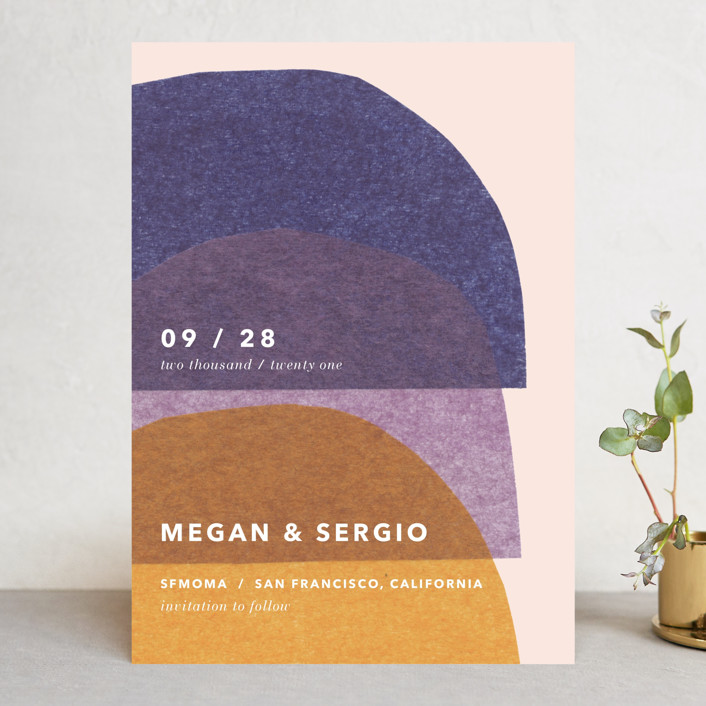 """""""cut-paper bells"""" - Modern Save The Date Cards in Sunrise by Carrie Moradi."""