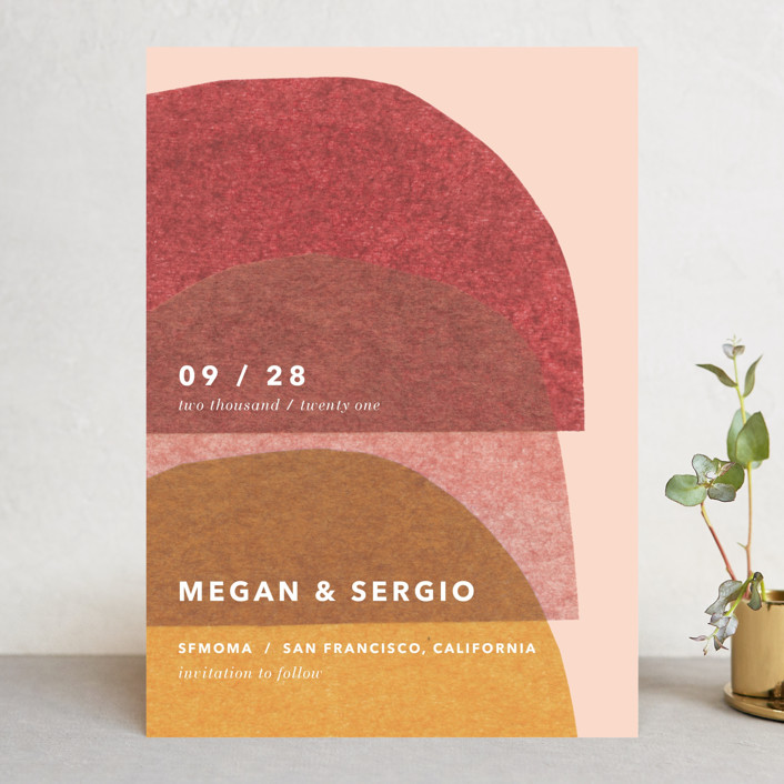 """cut-paper bells"" - Modern Save The Date Cards in Sherbet by Carrie Moradi."