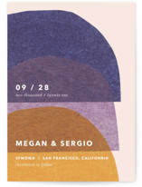 This is a yellow save the date by Carrie Moradi called cut-paper bells with standard printing on signature in standard.