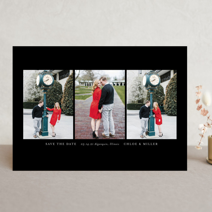 """""""Triptych"""" - Save The Date Cards in Linen by Erin Deegan."""