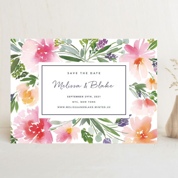 """Eliza"" - Save The Date Cards in Spring by Yao Cheng Design."