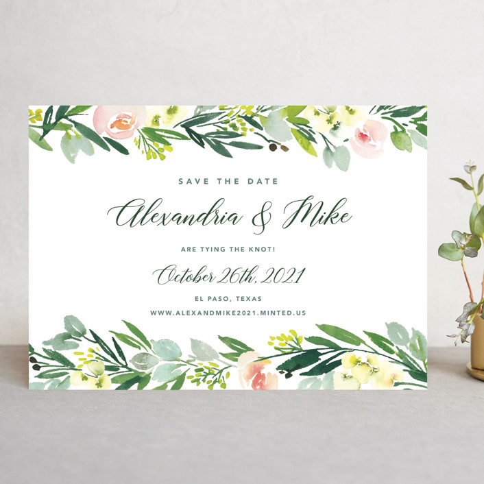 """""""Eucalyptus Wreath"""" - Save The Date Cards in Eucalyptus by Yao Cheng Design."""