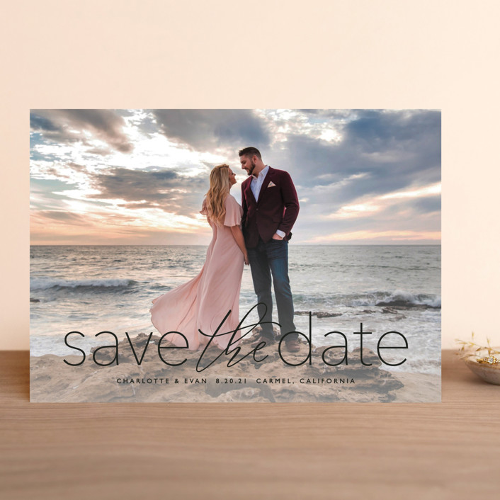 """""""typographic wedding"""" - Save The Date Cards in Ivory by Erin Deegan."""