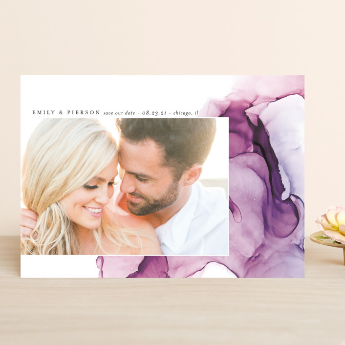 """dreamy watercolors"" - Modern Save The Date Cards in Lavender by Erin Deegan."