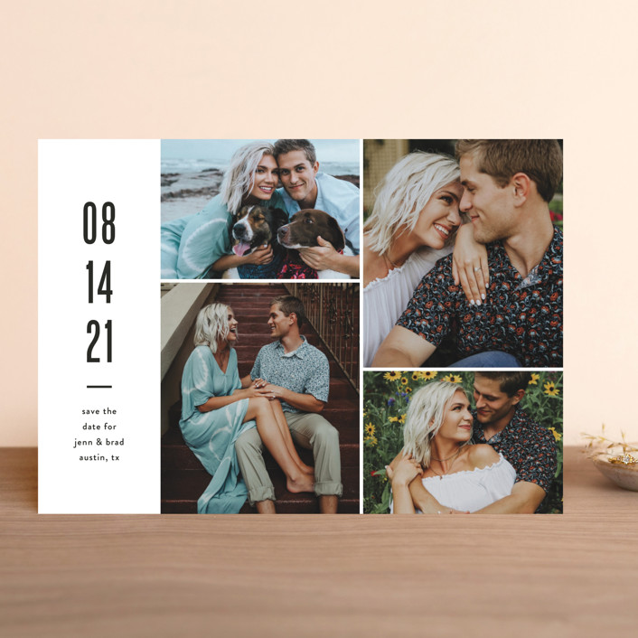 """Modern Grid"" - Save The Date Cards in fog by Jessica Ogden."