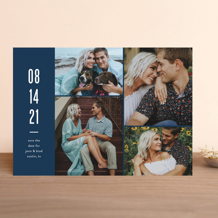 """""""Modern Grid"""" - Save The Date Cards in fog by Jessica Ogden."""