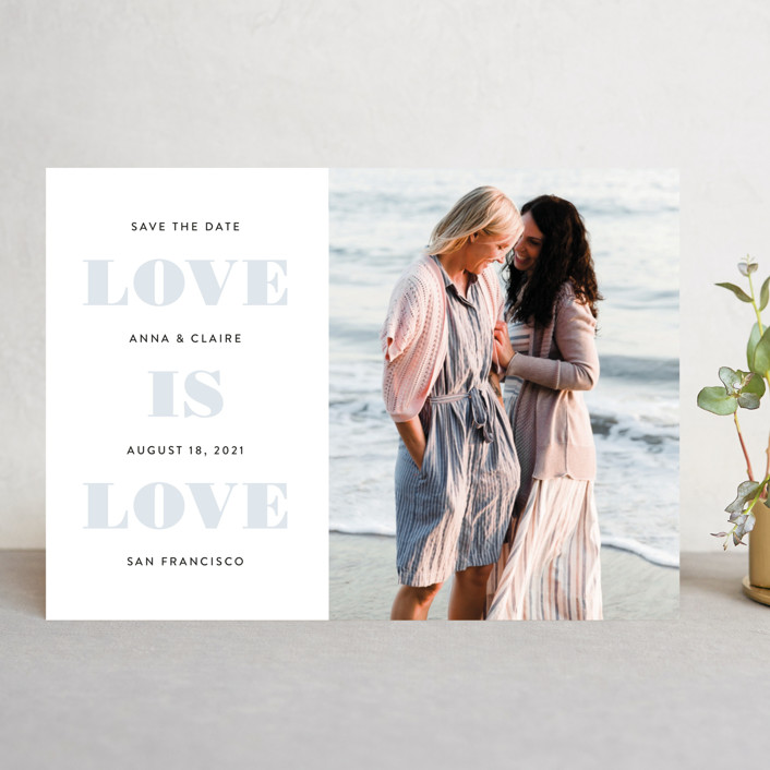 """Love is Love"" - Same Sex Marriage Save The Date Cards in Mist by Susan Asbill."