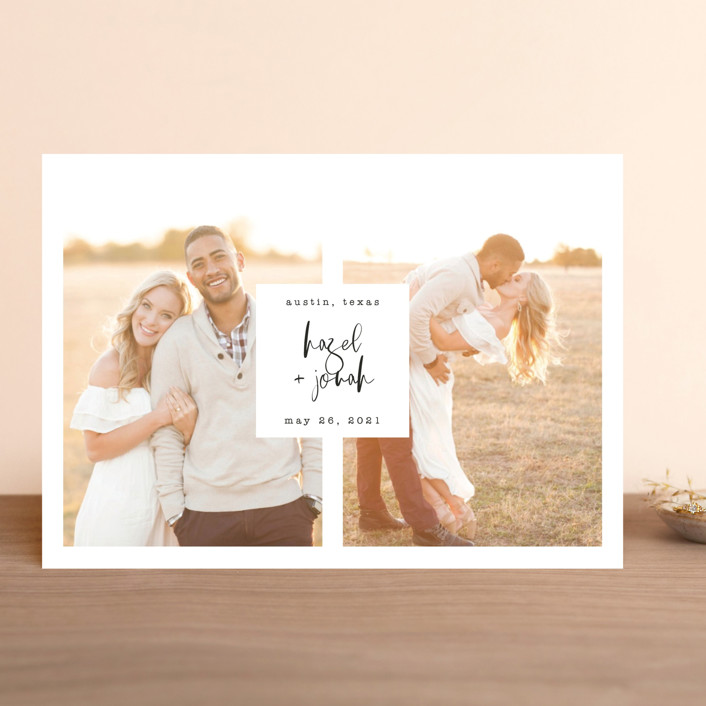 """""""Perfect Duo"""" - Save The Date Cards in Pearl by Chandler Lettin."""