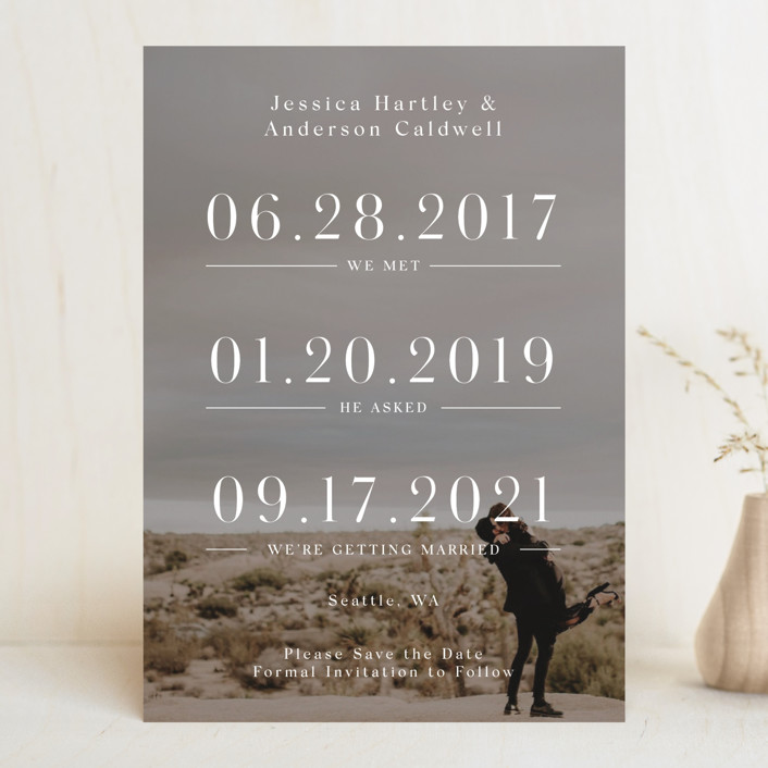 """Timing"" - Save The Date Cards in Ivory by Mayflower Press."