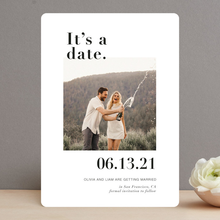 """""""It's a Date!"""" - Funny Save The Date Cards in Onyx by Joyce Pinheiro."""
