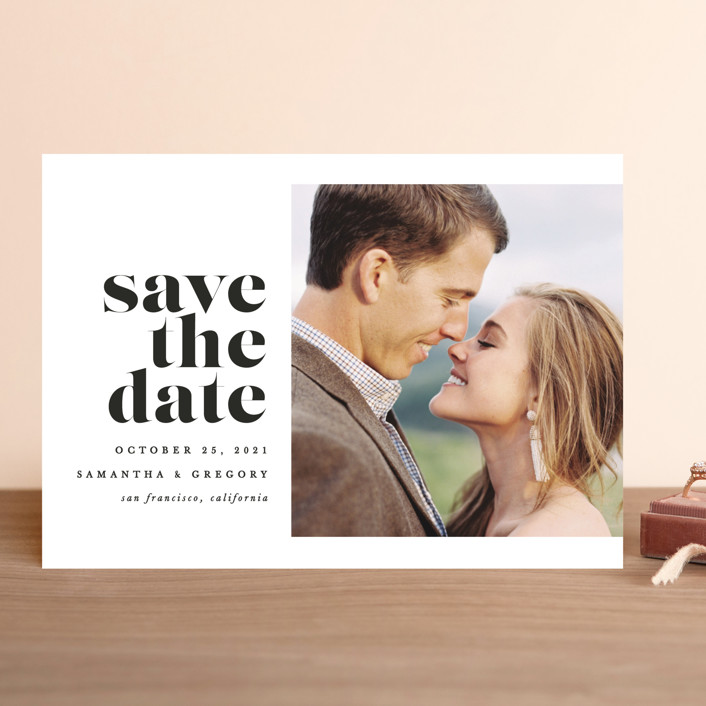 """""""All of Me"""" - Save The Date Cards in Ivory by Brooke Chandler."""