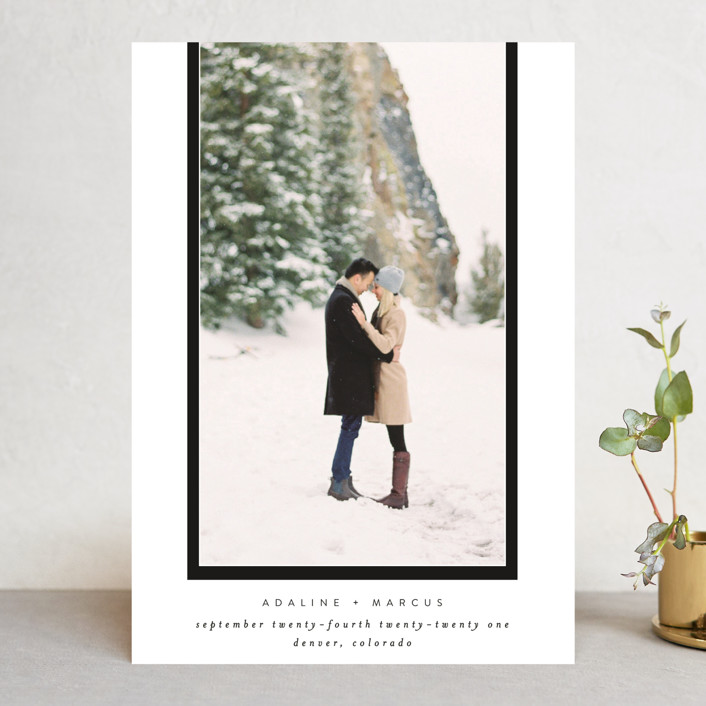 """""""Drop Frame"""" - Save The Date Cards in Tuxedo by Grace Kreinbrink."""