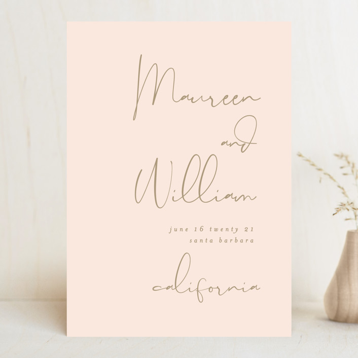 """""""A few words"""" - Modern Save The Date Cards in Blush by Susan Brown."""