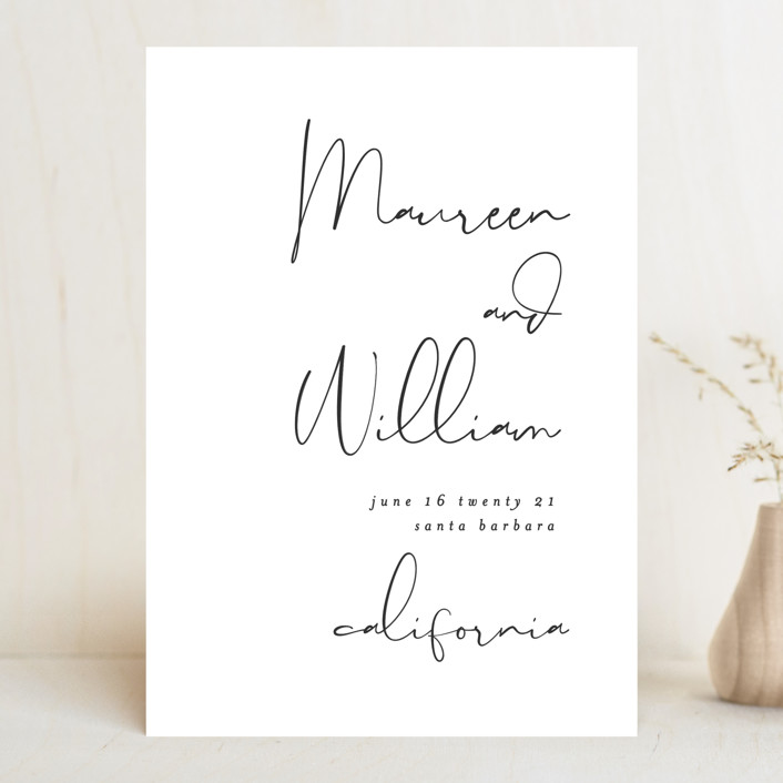 """""""A few words"""" - Save The Date Cards in Cotton by Susan Brown."""