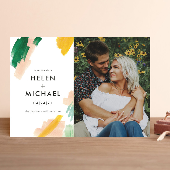 """""""Hamptons"""" - Save The Date Cards in Melon by Erika Firm."""