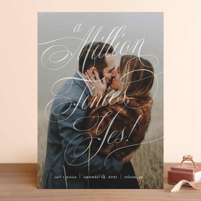 """A Million Times"" - Save The Date Cards in Snow by Paper Raven Co.."