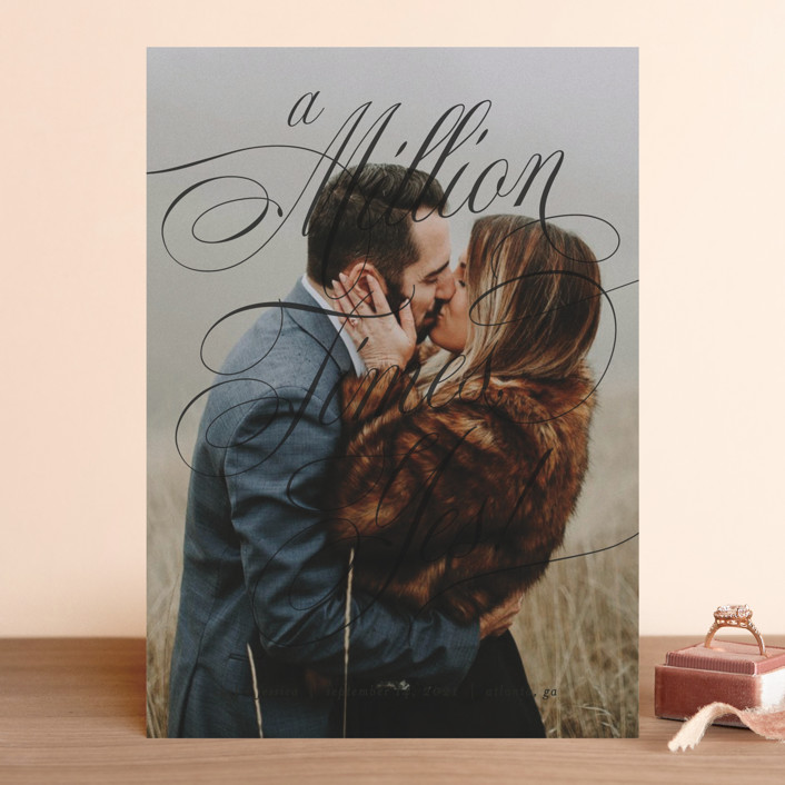 """""""A Million Times"""" - Save The Date Cards in Snow by Paper Raven Co.."""
