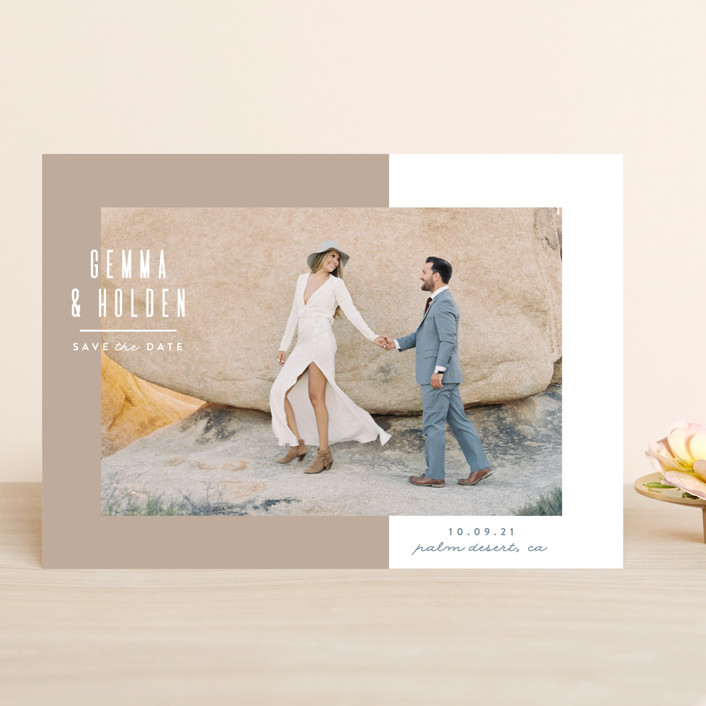 """Block Party"" - Save The Date Cards in Sand by Owl and Toad."