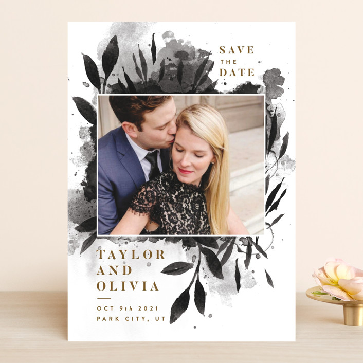 """Watercolor Spill"" - Save The Date Cards in Ink by Robert and Stella."