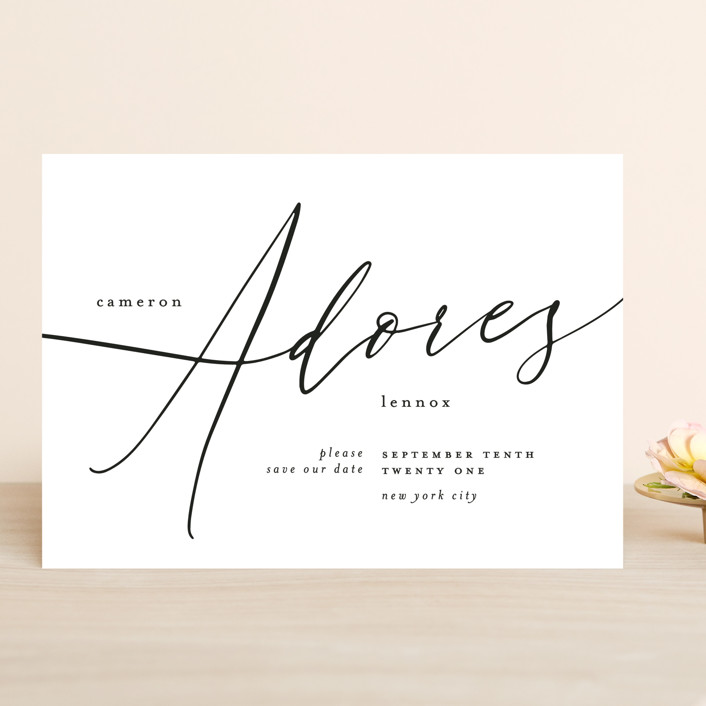 """i adore you"" - Save The Date Cards in Ebony by Phrosne Ras."