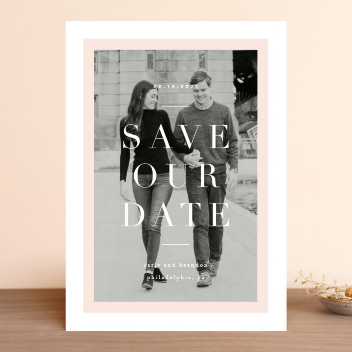 """""""Modernist Minimal"""" - Save The Date Cards in Blush by Everett Paper Goods."""
