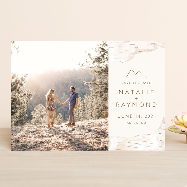 """Birchbark"" - Rustic Save The Date Cards in Natural by Kelsey Mucci."