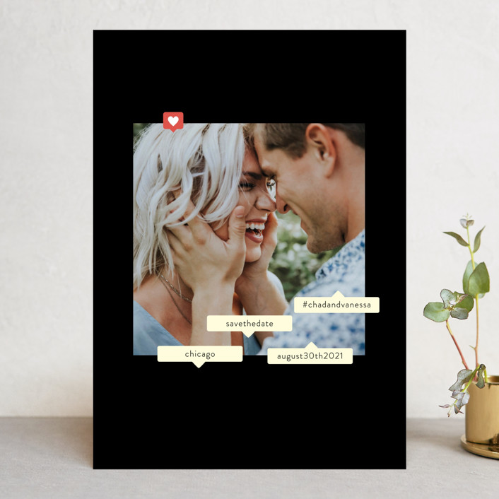 """""""Tagged"""" - Save The Date Cards in Ivory by Baumbirdy."""