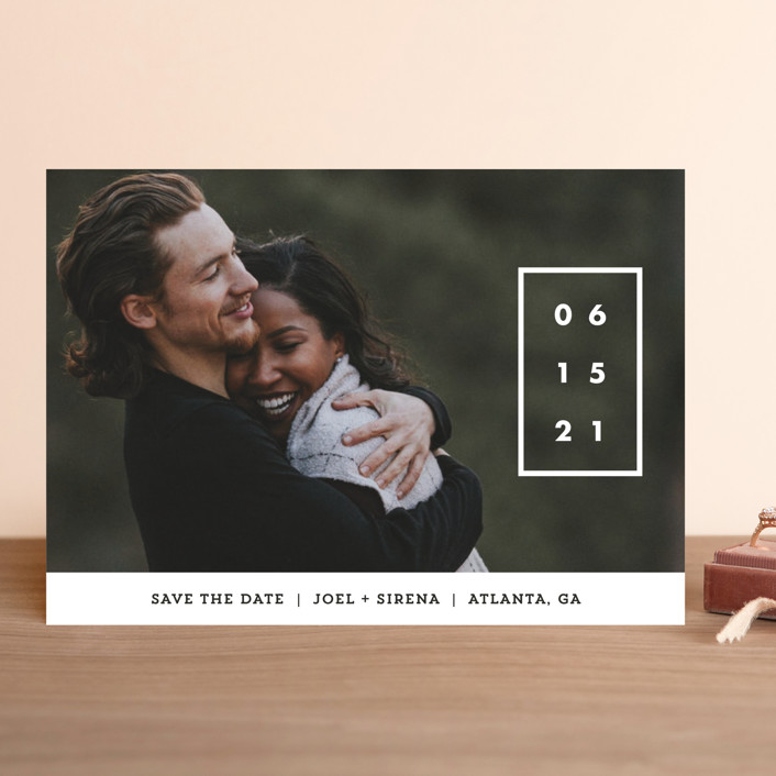 """Cherished Date"" - Save The Date Cards in Pearl by Chryssi Tsoupanarias."