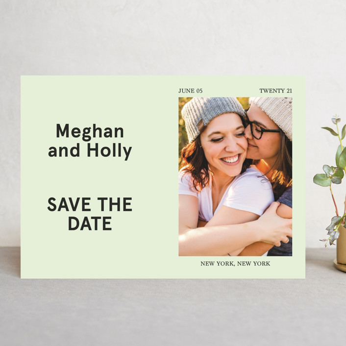 """Booklet"" - Save The Date Cards in Fern by Jack Knoebber."