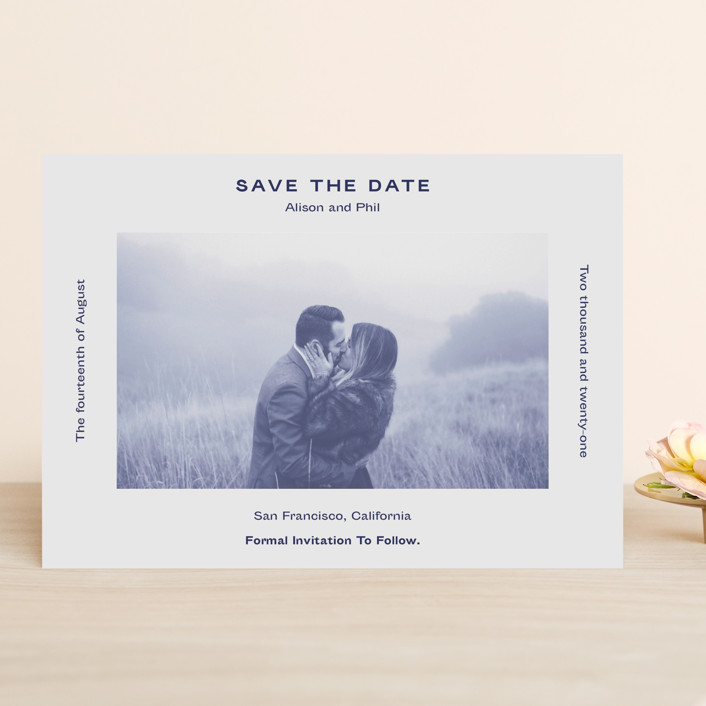 """""""Flyer"""" - Save The Date Cards in Navy by Jack Knoebber."""