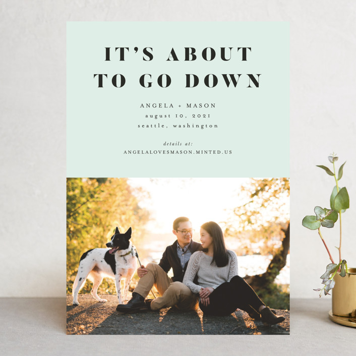 """""""About To Go Down"""" - Save The Date Cards in Mint by Stephanie Given."""
