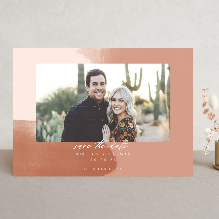 """""""Minimalist Abstract Sunset"""" - Save The Date Cards in Terracotta by Stephanie Given."""