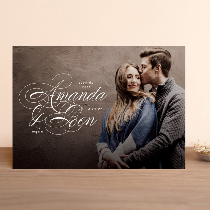 """""""Nestled"""" - Save The Date Cards in Cream by Roxy Cervantes."""