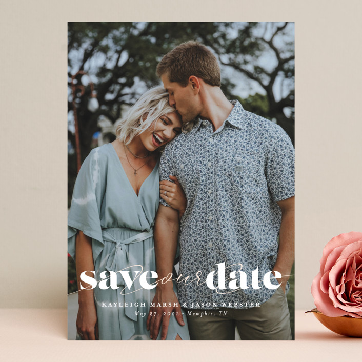 """""""Swoon"""" - Minimalist, Simple Save The Date Cards in Vanilla by Lea Delaveris."""