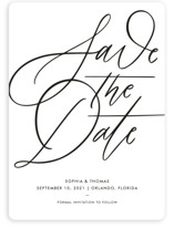 This is a white save the date by Kristen Smith called Delicate Dates with standard printing on signature in standard.