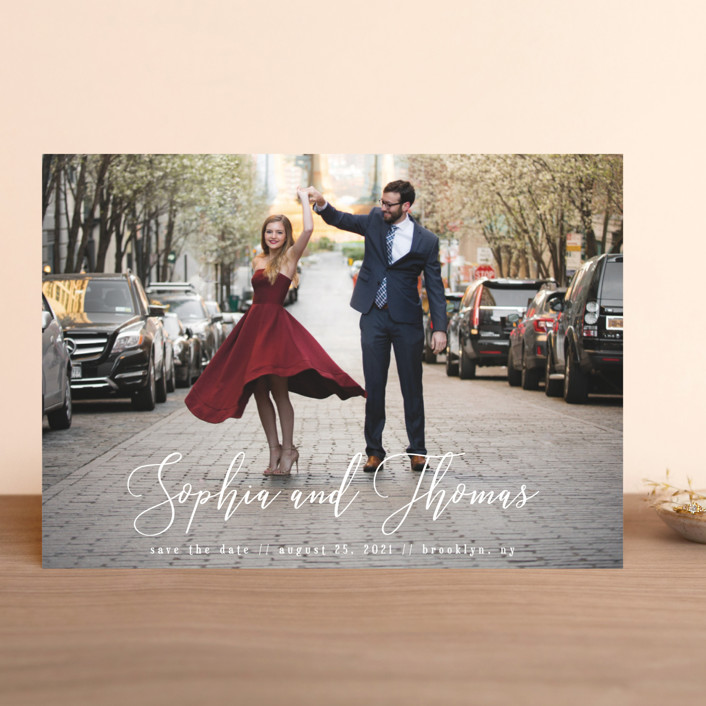 """Love in the Air"" - Save The Date Cards in Cloud by Kann Orasie."