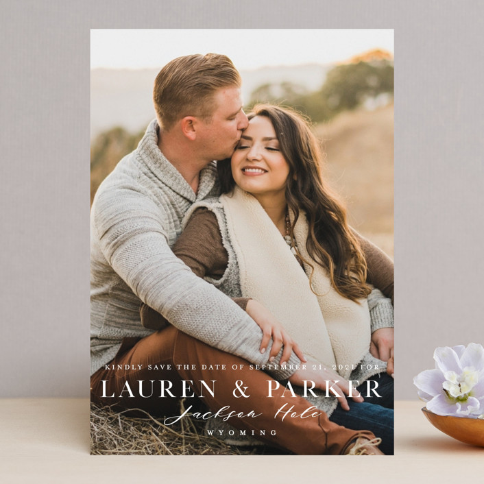 """""""Classic Touch"""" - Save The Date Cards in Pearl by Oscar & Emma."""