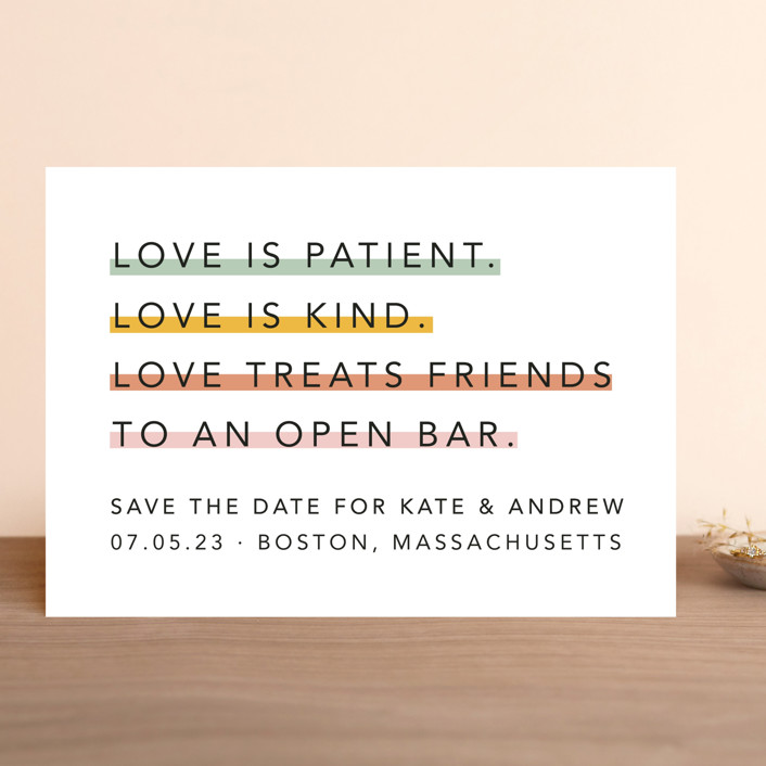 """Love is..."" - Save The Date Cards in Sorbet by Hudson Meet Rose."
