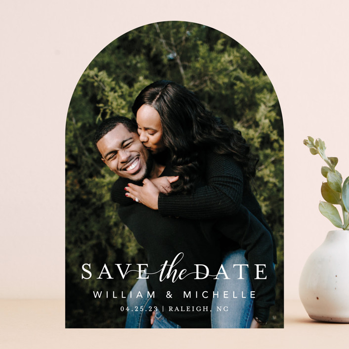 """""""Convey our Love"""" - Save The Date Cards in Snow by MC Designs."""