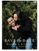 This is a white save the date by MC designs called Convey our Love with standard printing on signature in standard.