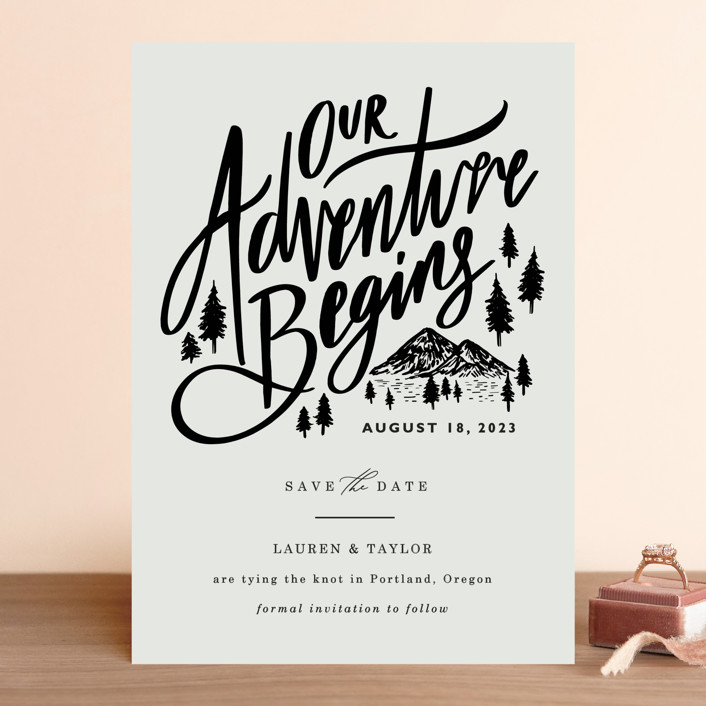 """Our Adventure"" - Save The Date Cards in Noir by Elly."