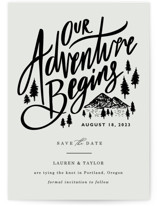 This is a black save the date by Elly called Our Adventure with standard printing on signature in standard.