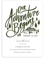 This is a green save the date by Elly called Our Adventure with standard printing on signature in standard.